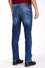 NWT HUDSON Sz34 BYRON FIVE POCKETS STRAIGHT FIT STRETCH JEANS IN BLUE PERRY $198
