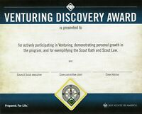 BOY SCOUT AMERICA VENTURE VENTURING DISCOVERY AWARD WALL CERTIFICATE OFFICIAL