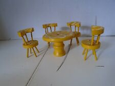 4 Dining Room Kitchen Chairs Round Table Doll Furniture Yellow Wood Miniature