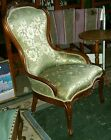 Carved Antique Walnut Victorian Parlour Chair Brocade Sell at Round Top $500 +