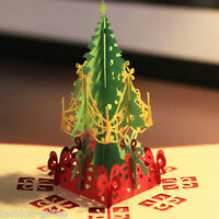 3D Stereoscopic Birthday Holidays Tree Merry Christmas Handmade Greeting Card