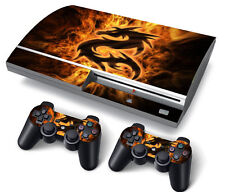 PS3 ORIGINALE PLAYSTATION 3 SKIN ADESIVI in PVC per console & 2 PADS FIRE DRAGON