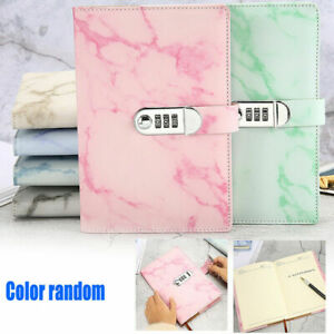 Marbled PU Leather A5 Journal Wired Diary Notebook with Password Code Lock Gift