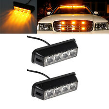 2PCS 4LED Car vehicle Amber Flash Strobe Light Emergency Warning Flashing Lamp