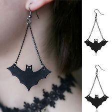 Womens Girl's Vintage Retro Fashion Halloween Black PU Leather Bat Hook Earring