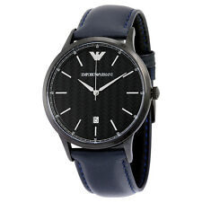 "Armani Blue ""Herringbone"" Pattern Dial Leather Mens Watch AR2479"