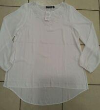 Women's SUSAN GRAVER Fashionable Top White Blouse Embellished Size 14 Large NWT