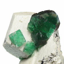 ATTRACTIVE RICH GREEN PHANTOM CUBIC FLUORITE CRYSTALS on matrix - Namibia BK013