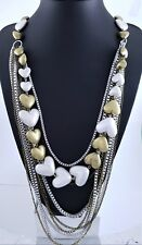 Matt Silver & Brass Box Chain Puffy Hearts Multi Chain Long Lagenlook Necklace