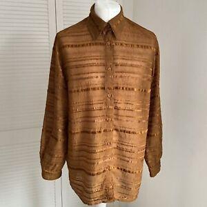 Coldwater Creek Shirt Size XL 1X Womens Striped Textured Sheer Panel Button Up