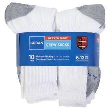 Gildan Heavyweight 10 PAIR Crew Socks, Extra Cushioning, Moisture Wicking, 6-12