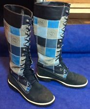 Blue Patchwork Timberland TIMS Tall Knee Boots Sz 7.5 Waterproof Leather