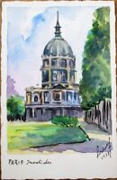 Hand-Painted/Original Art/Artist-Signed 1937 Watercolor Postcard-Paris-Invalides