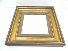 Vintage Used Old Wood Wooden Gilded Frame Wall Hanging Decorative Square Mirror