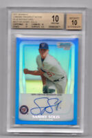 SAMMY SOLIS 2011 Bowman Chrome Blue Refractor #/150 RC AUTO BGS 10 Pristine
