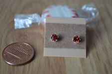 0.52ct Spessartite Mandarin Garnet Solitaire Earrings Sterling Silver 4mm Heart