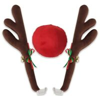 Car Reindeer Antlers & Nose Window Roof Top & Grille Rudolph Reindeer L4M6