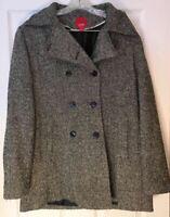 Vintage 80's Esprit coat LARGE Gray Wool Tweed Peacoat Lined Heavy Warm Cute L