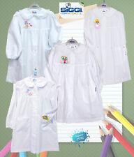 Grembiule bimba bianco ricamato per scuola materna ed elementare SIGGI