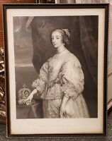 Mid 19th Century English Queen Henrietta Maria Portrait Engraving by F. Joubert