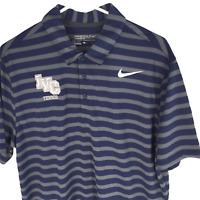 Nike Golf Mens Shirt NEW Sz Large Blue Striped Standard Fit Tennis Short Sleeve