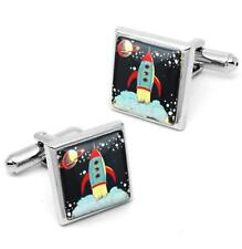Silver Rocket Ship Cufflinks Vintage Sci-fi Outer Space Glass Retro Set w/ Box