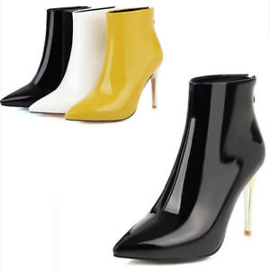Womens High Heel Zipper Pointy Toe Party Ankle Boots Patent Leather Bootie Shoes