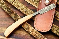 Custom Handmade Damascus Steel Blade Barber Folding Razor | Olive Wood