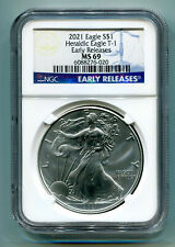 2021 Silver Eagle Heraldic Eagle T-1 Ngc Ms69 Classic Early Release As Shown Pq