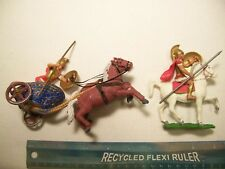 2 AOHNA ATHENA MARX GREEKS ROMANS CHAIRIOT HORSES 54MM 60MM 1/32 PLASTIC PLAYSET