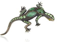 Stone Gem Lizard Pin Brooch Jewelry Chic Dark Tone Peridot Green Alloy Crystal