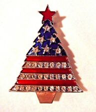 PATRIOTIC RED, SILVER & BLUE CHRISTMAS TREE BROOCH WITH CRYSTAL RHINESTONES