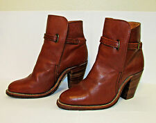 Vintage Frye Riding Bootie Women Round Toe Leather Brown Ankle Boot Size 5 B