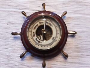 Vintage Barometer Nautical Ship Wheel Weather Station Germany ATCO Cheap