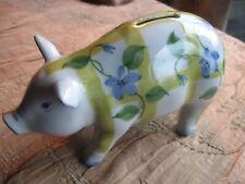 Vintage Andrea By Sadek China Ceramic Floral Piggy Bank Mint Cond Bl Yel Grn Wht