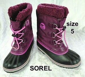 Sorel Women's Size 5 Purple Textile Blue Waterproof Rubber Winter Boots CUTE
