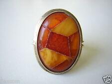 Antigua 800 anillo de plata naturaleza Bernstein-mosaico de mano de 9,4 G/18,5 mm Amber