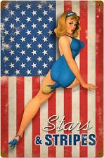 Stars and Stripes Pin Up Girl Vintage Distressed Metal Sign Wall Decor BVL026