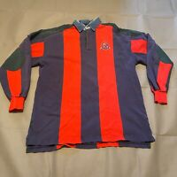 Vintage KU Jayhawks Vertical Stripe Rugby Polo Denim Collar Size Large Men's