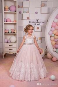 Blush and Ivory Lace Top Flower Girls Dresses Zipper Back Ball Gown Floral Lace
