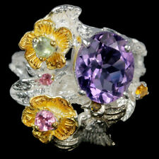 NATURAL PURPLE AMETHYST & MULTI COLOR TOURMALINE STERLING 925 SILVER RING 6.5
