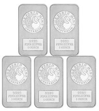 Lot of 5 -Australia Perth Mint Kangaroo 1 Troy oz .9999 Fine Silver Bar SKU47882