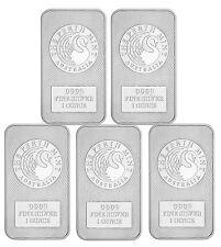 Lot of 5 -Australia Perth Mint Kangaroo 1 Troy oz .9999 Fine Silver Bar SKU47882