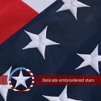 5'X8' Ft American Flag USA Flag 420D Polyester Embroidered Stars Brass Grommets