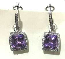 New 14kt White Gold Amethyst w/Diamond Leverback  Earrings-Free Ship!