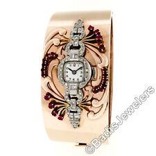 Retro Vintage 14k Rose Gold Wide Ruby Bangle Bracelet w/ Platinum Diamond Watch