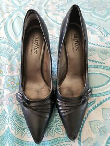 AIRFLEX Black Leather High Heels Stilettos Size 40 C35