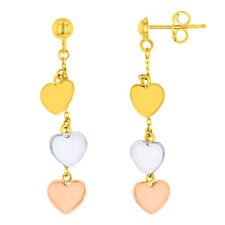 Solid 14K Tri-Color Gold Three Hearts Dangling Earrings