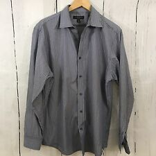 Banana Republic Blue Striped Slim Fit Long Sleeve Men's Dress Shirt 16 16.5 L