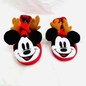 Disney Store Kids Mickey Mouse Reindeer Antlers Holiday Slippers Size US 9/10